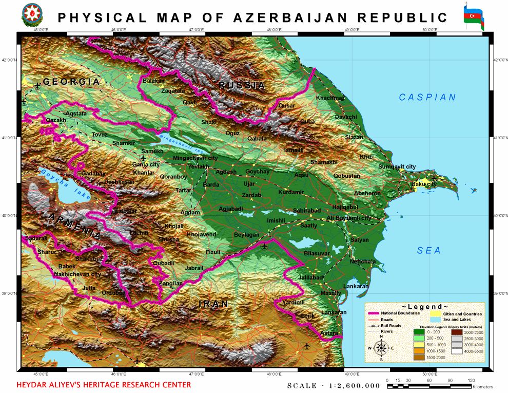 The physical map of the Republic of Azerbaijan.